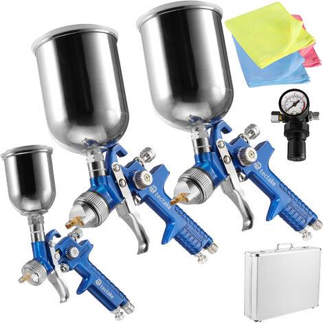 3 pistolas de pintar HVLP (0,8+1,3+1,7mm) + maletín + bayetas de microfibra - pistola de acero con difusor, set para pintar con regulador de presión y filtros, pistola para pulverizar con maletín de aluminio - azul
