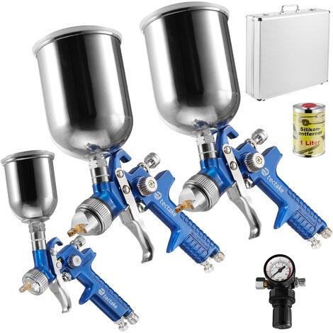 3 pistolas de pintar HVLP (0,8+1,3+1,7mm) + maletín + eliminador de silicona - pistola con difusor de acero, set para pintar con regulador de presión y filtros, pistola para pulverizar con maletín de aluminio - azul