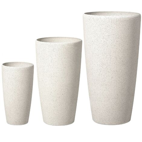 3 Plant Pot Set Stone White ABDERA