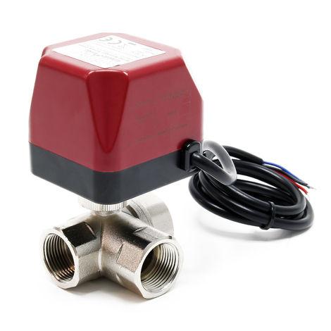 "3-port motorised Zone Valve Three Way ball valves heating DN20 26.9 mm (3/4"") 220VAC"