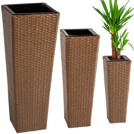 Audacieux 3 Pots de fleurs Design en Résine Tressée - Intérieur ou Extérieur WK-81