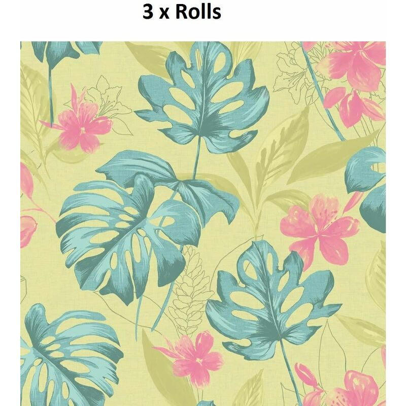 Image of 3 Rolls Panama Wallpaper Flowers Floral Luxury Paste The Wall Lime Teal Holden