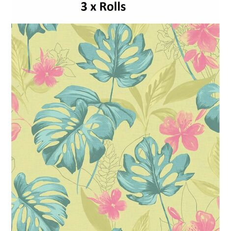 3 Rolls Panama Wallpaper Flowers Floral Luxury Paste The Wall Lime Teal Holden