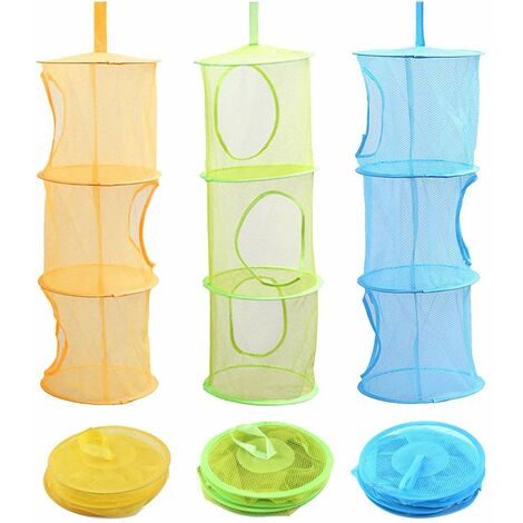 3-room mesh storage basket, storage box for children's door toys, can be hung on 3 layers, portable and foldable, for small clothes (blue, green, yellow)