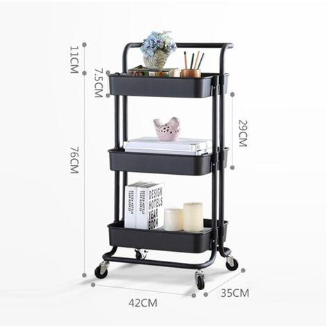 3 Row Plastic Multi-Purpose Trolley Holder With Wheel Corner Shelf Organizer