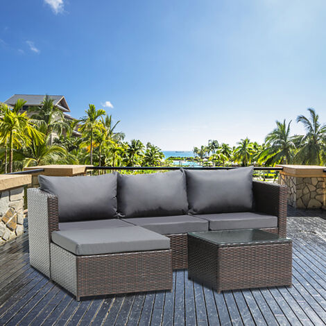 3-Seater 1-Piece Garden Furniture Sofa Pedal Set Coffee Table Dark Gray Cushion-Different