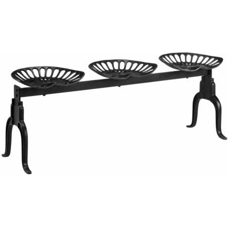 3-Seater Bench 155 cm Black Cast Iron