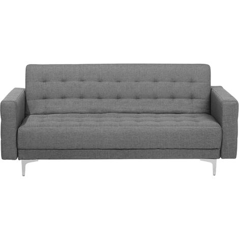 3 Seater Fabric Sofa Bed Grey ABERDEEN