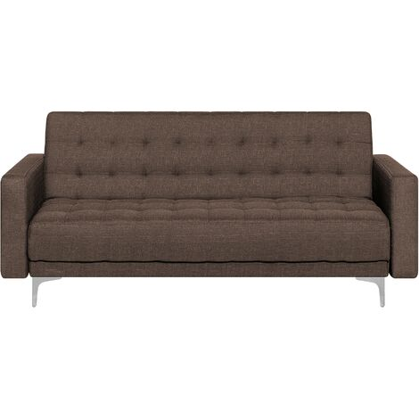 3 Seater Fabric Sofa Brown ABERDEEN