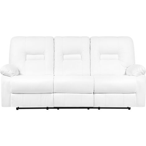 3 Seater Faux Leather Recliner Sofa White BERGEN