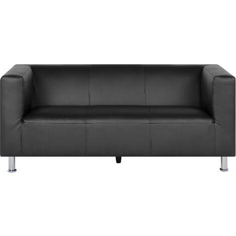 3 Seater Faux Leather Sofa Black FLORO