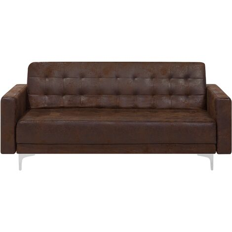 3 Seater Faux Leather Sofa Brown ABERDEEN