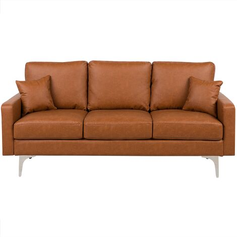 3 Seater Faux Leather Sofa Brown GAVLE