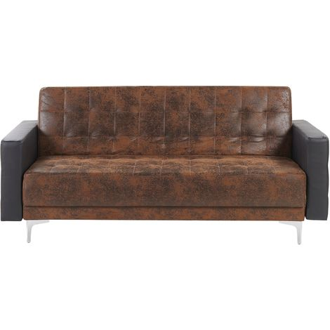 3 Seater Faux Leather Sofa Brown with Black ABERDEEN