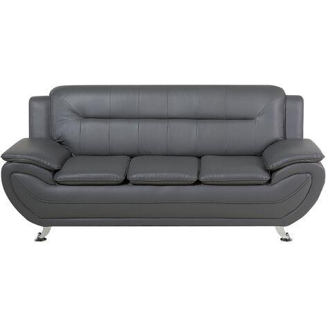 3 Seater Faux Leather Sofa Grey LEIRA