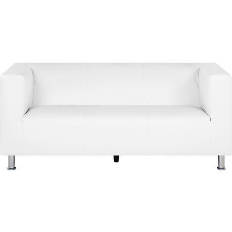 3 Seater Faux Leather Sofa White FLORO