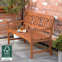 3 Seater Fence Garden Bench with Diagonal Slotted Back Design