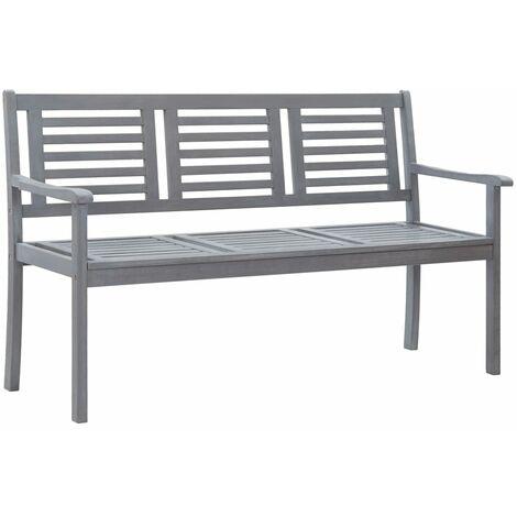 3-Seater Garden Bench 150 cm Grey Solid Eucalyptus Wood