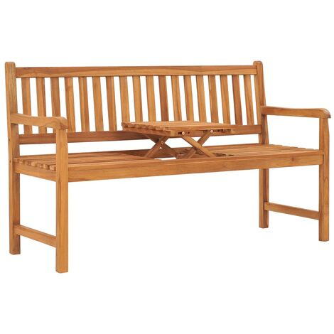3-Seater Garden Bench with Table 150 cm Solid Teak Wood - Brown