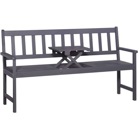 3-Seater Garden Bench with Table 158 cm Solid Acacia Wood Grey