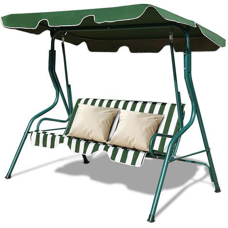 3 Seater Garden Swing Chair Patio Canopy Hammock Cushioned Bench Lounger Green
