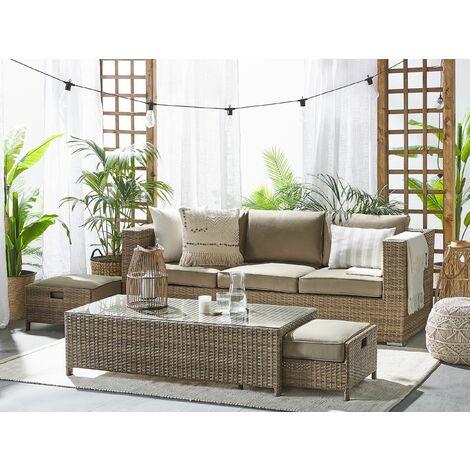 3 Seater Rattan Garden Sofa Set Brown BELLUNO