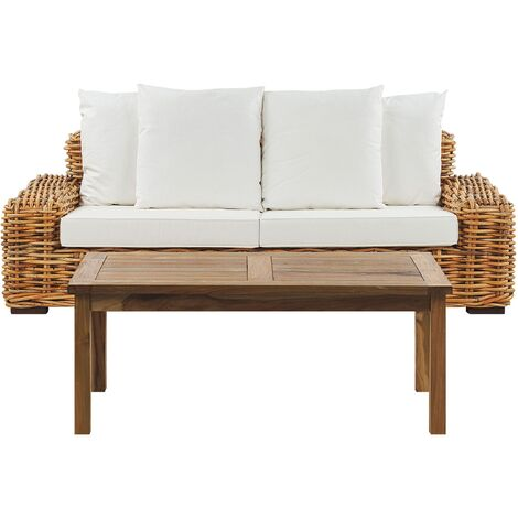 3 Seater Rattan Garden Sofa Set Light Brown FORLI
