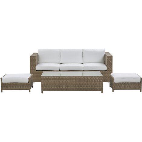 3 Seater Rattan Garden Sofa Set White BELLUNO