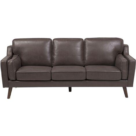 3 Seater Sofa Faux Leather Brown LOKKA
