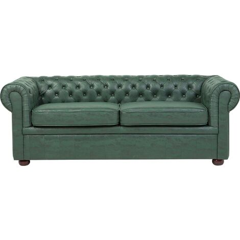 3 Seater Sofa Faux Leather Green CHESTERFIELD