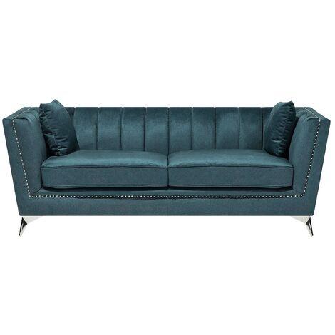 3 Seater Velvet Fabric Sofa Teal GAULA