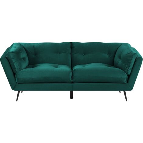 3 Seater Velvet Sofa Green LENVIK
