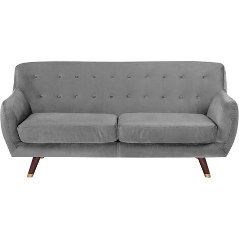 3 Seater Velvet Sofa Grey BODO