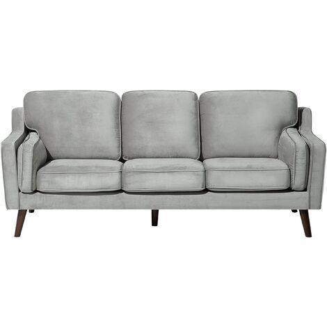 3 Seater Velvet Sofa Light Grey LOKKA