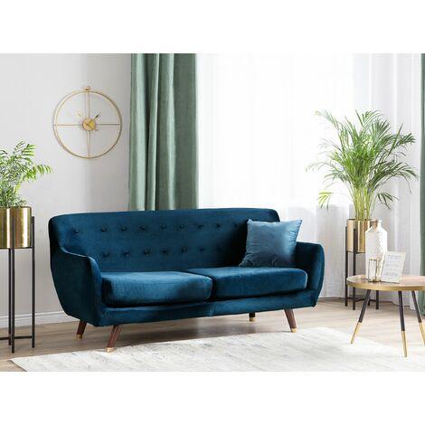 3 Seater Velvet Sofa Navy Blue BODO