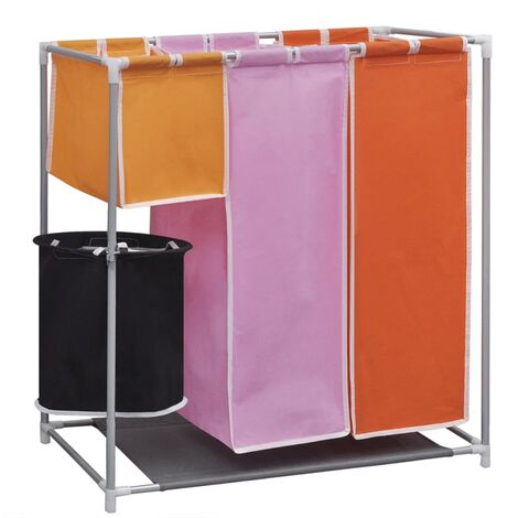 3-Section Laundry Sorter Hamper with a Washing Bin
