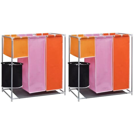 3-Section Laundry Sorter Hampers 2 pcs with a Washing Bin - Multicolour