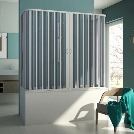 3-seitiger Badewannenaufsatz Duschkabine in PVC mod. Muse mit zentraler Öffnung