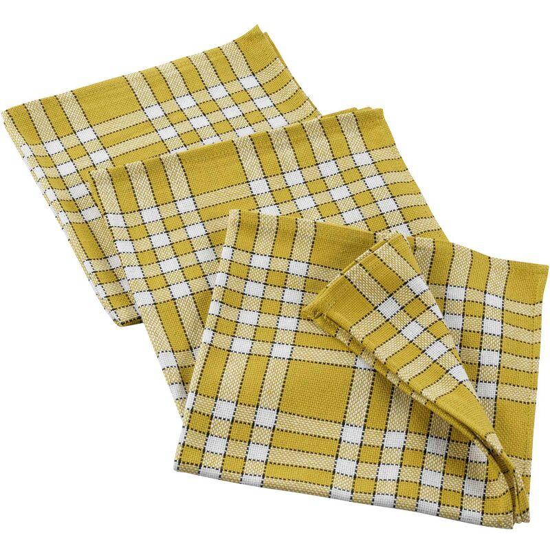 Douceur D'intérieur - 3 serviettes de table 45 x 45 cm coton tisse traditio Jaune