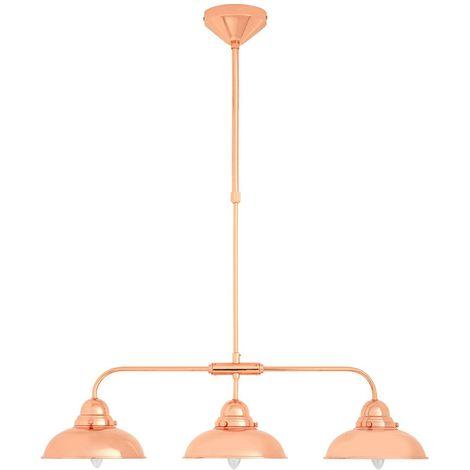 3 SHADE BAR PENDANT LIGHT HANGING CHROME METAL EFFECT MOUNTED CEILING LAMP