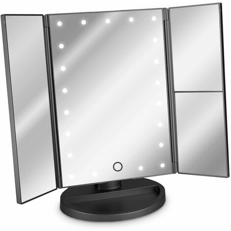 3-Sided LED Lighted Mirror - Stand-up Folding Triptych Makeup Mirror with Magnifying Effect x2 x3 - Battery or USB - Black