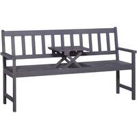 3-Sitzer Gartenbank mit Tisch 158 cm Massivholz Akazie Grau