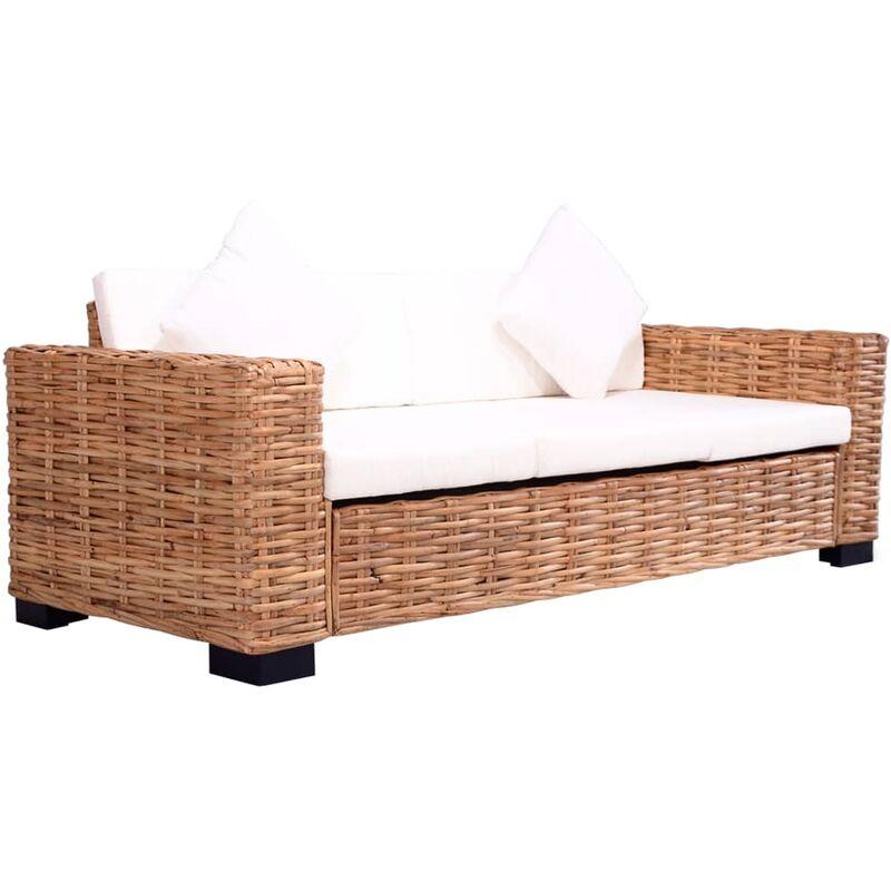 3-Sitzer Gartensofa Natürliches Rattan - VIDAXL