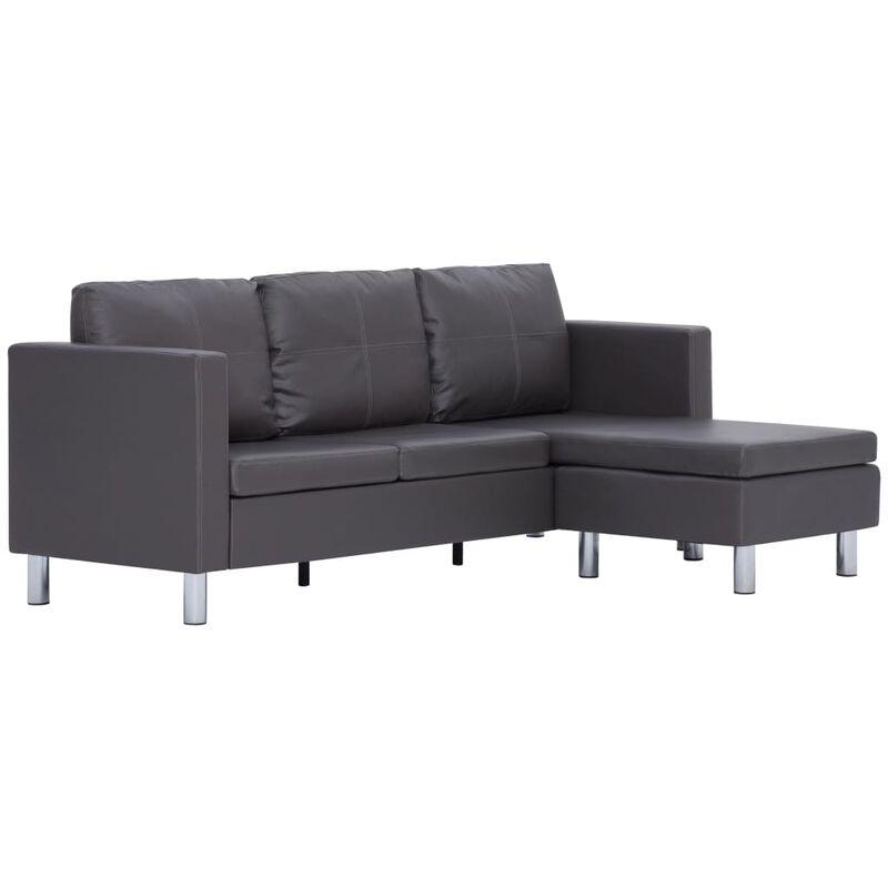 3-Sitzer-Sofa mit Kissen Kunstleder Grau - VIDAXL