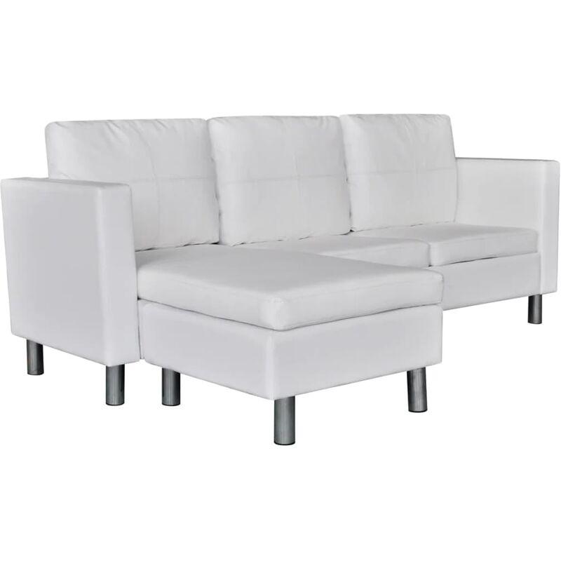 3-Sitzer-Sofa mit Kissen Kunstleder Weiß - VIDAXL