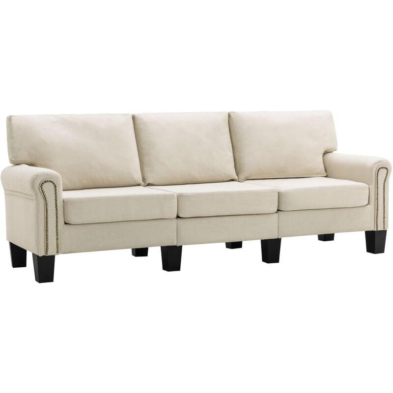 3-Sitzer-Sofa Creme Stoff - VIDAXL