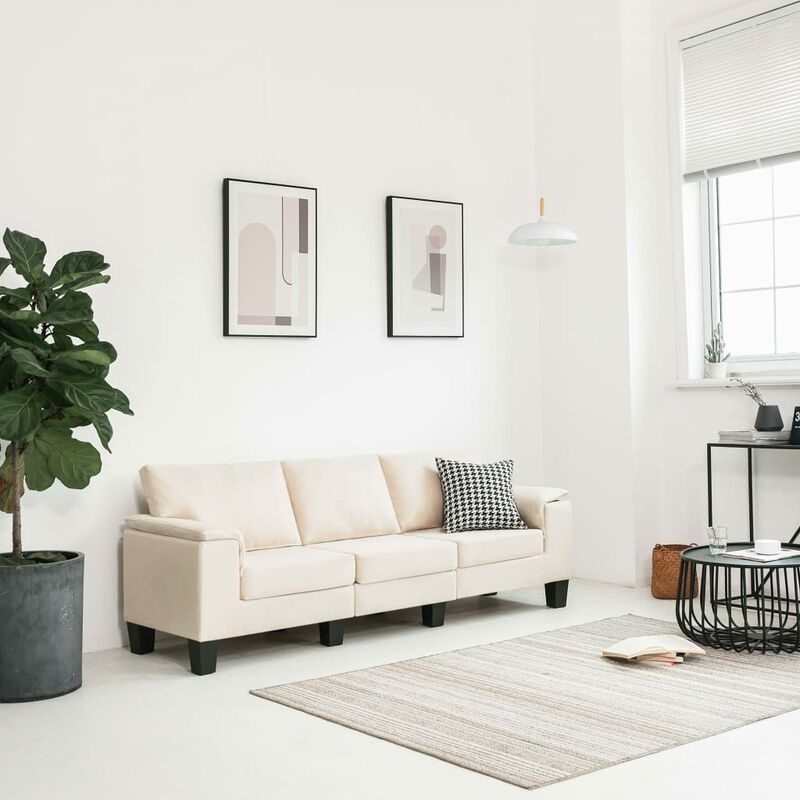 Zqyrlar - 3-Sitzer-Sofa Cremeweiß Stoff