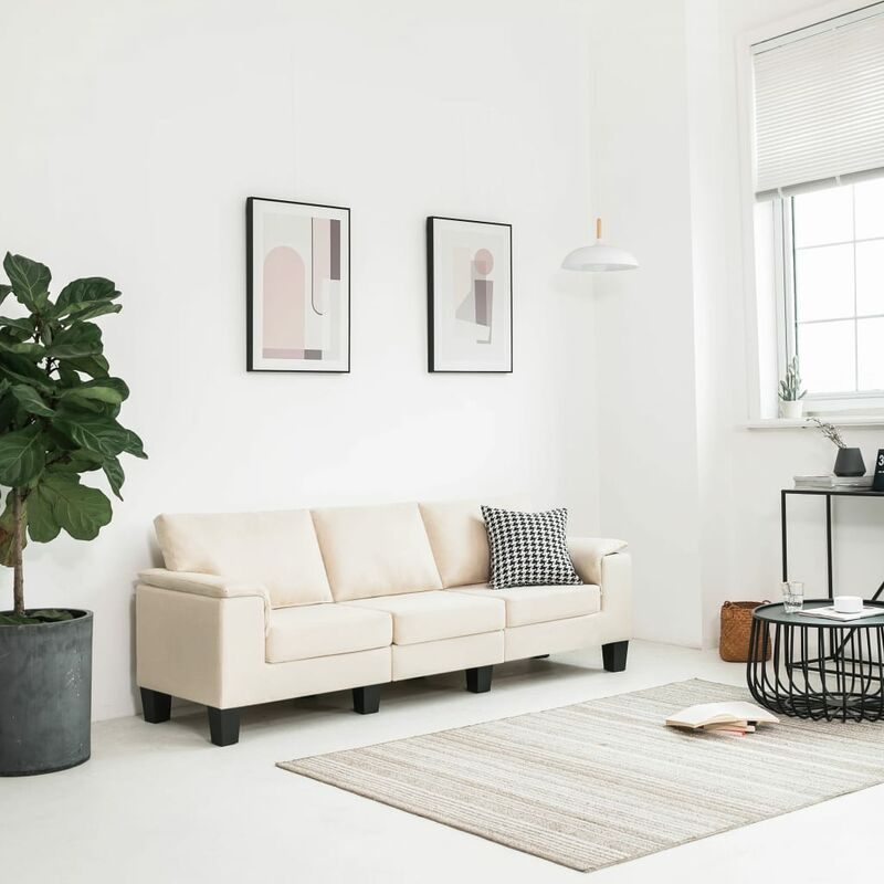 3-Sitzer-Sofa Cremeweiß Stoff - VIDAXL