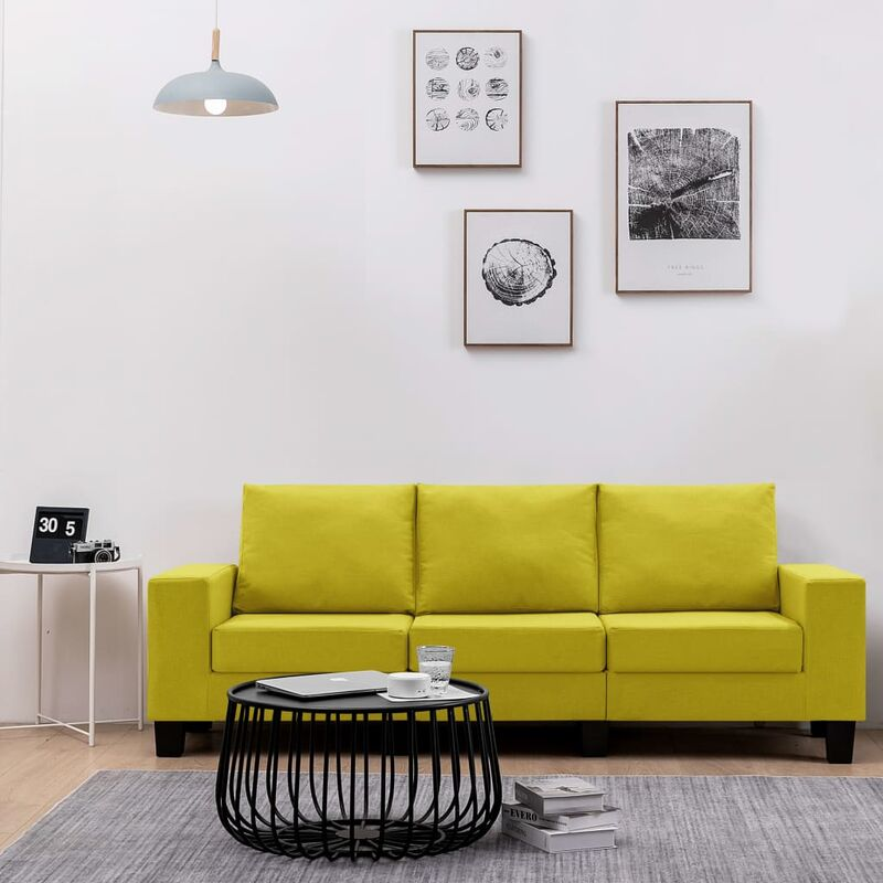 3-Sitzer-Sofa Gelb Stoff - VIDAXL