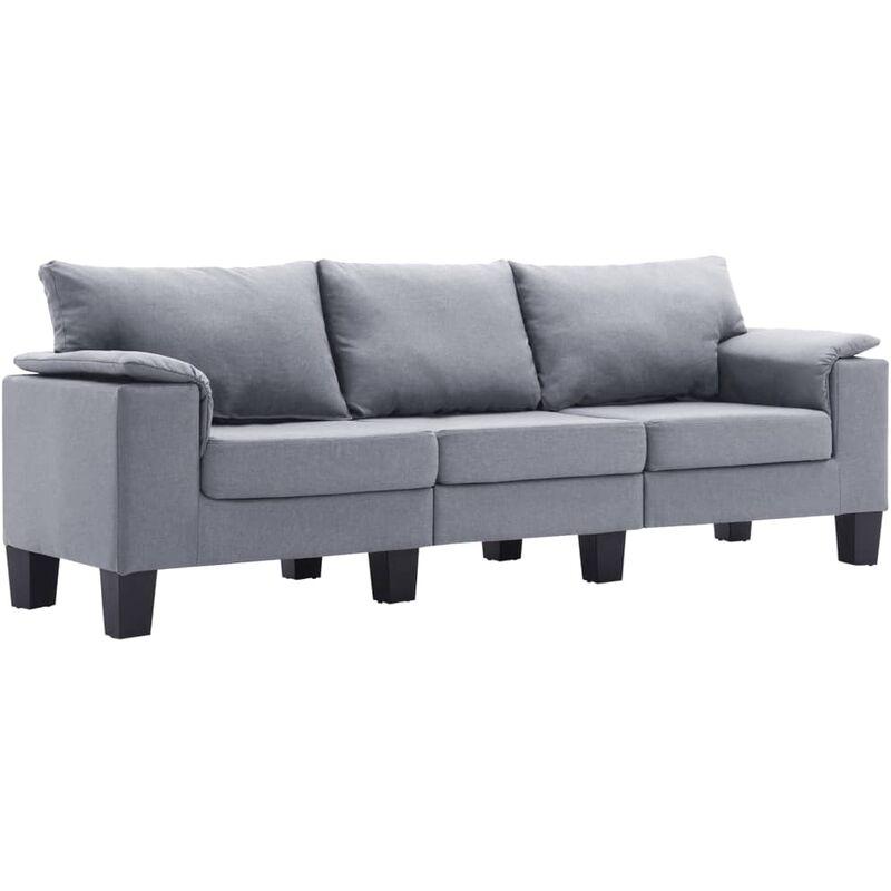 3-Sitzer-Sofa Hellgrau Stoff - VIDAXL